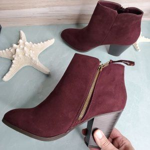 Shoes - NEW New Wine Suede Ankle Booties
